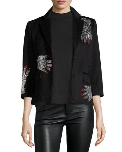 Swarovski®-Hands 3/4-Sleeve Jacket, Black