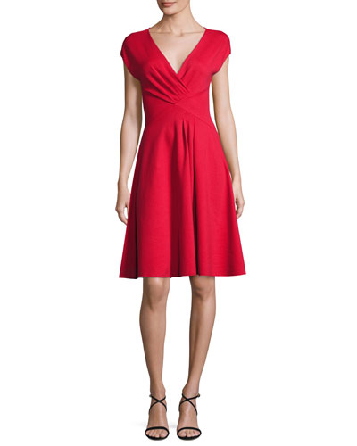 Milano Jersey V-Neck Dress, Red