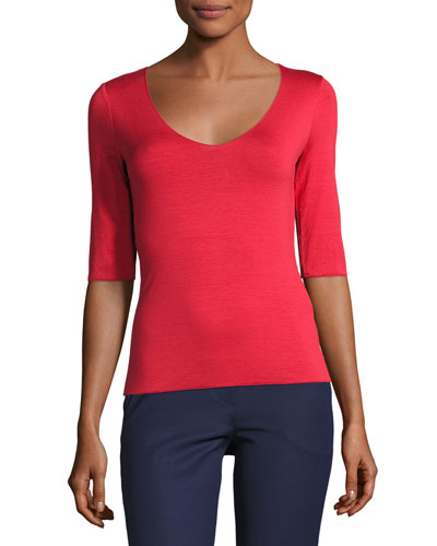 Scoop-Neck Half-Sleeve Tee, Red