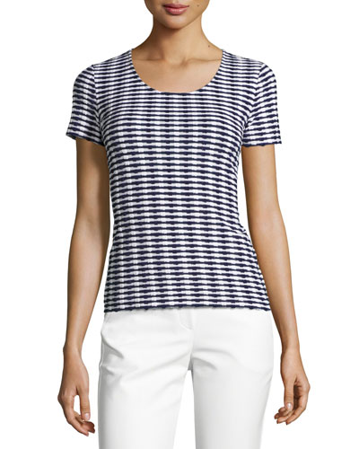 Striped Jacquard Short-Sleeve Sweater, Navy/White