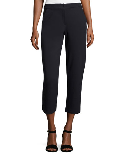 Straight-Leg Cropped Pants, Midnight