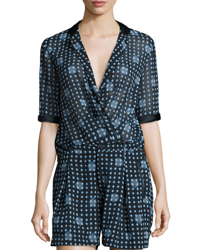 Dot-Print Half-Sleeve Blouse, Navy/Multi