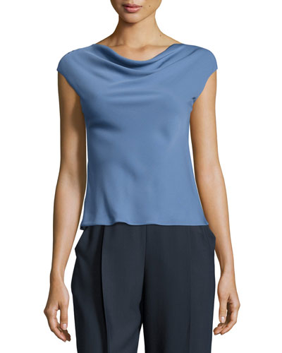 Charmeuse Cowl-Neck Cap-Sleeve Blouse, Medium Blue