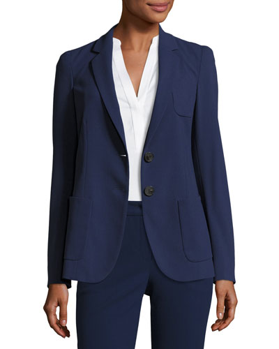 Micro-Jacquard Two-Button Jacket, Marino Blue