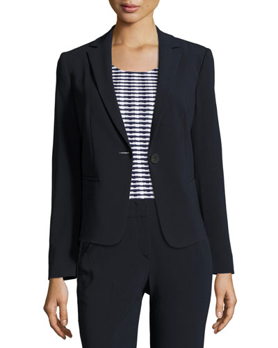 Stretch-Wool One-Button Jacket, Midnight