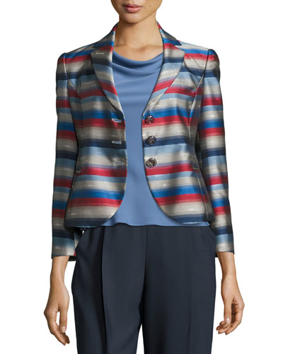 Striped Jacquard Three-Button Jacket, Multi