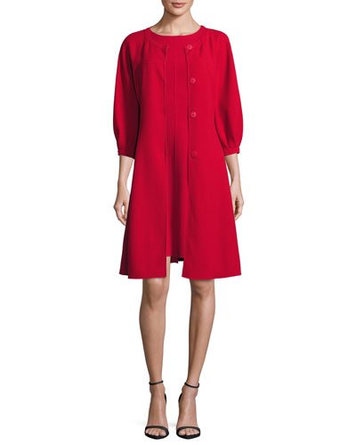 Double-Wool 3/4-Sleeve Caban Coat, Red