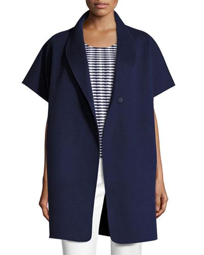 Double-Faced Short-Sleeve Coat, Marino Blue