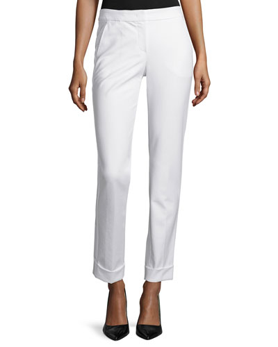 Tech-Cotton Wide-Cuff Pants, Ivory