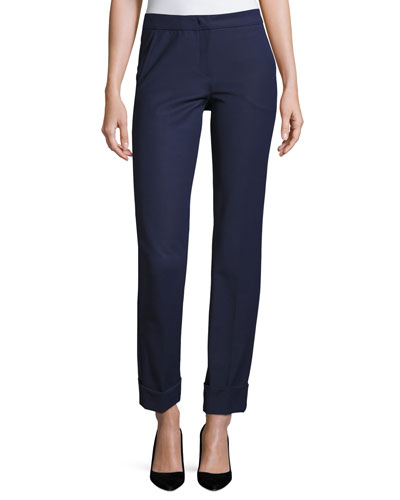 Tech-Cotton Wide-Cuff Pants, Marino Blue