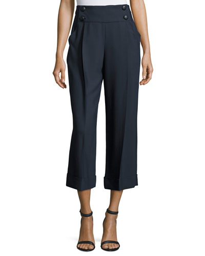 Sailor-Button Wide-Leg Cropped Pants, Midnight
