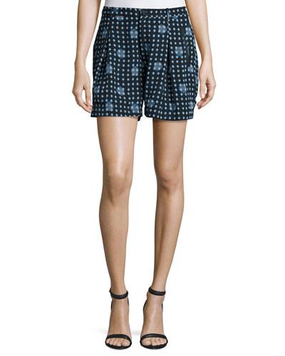 Dot-Print Pleated Shorts, Navy/Multi