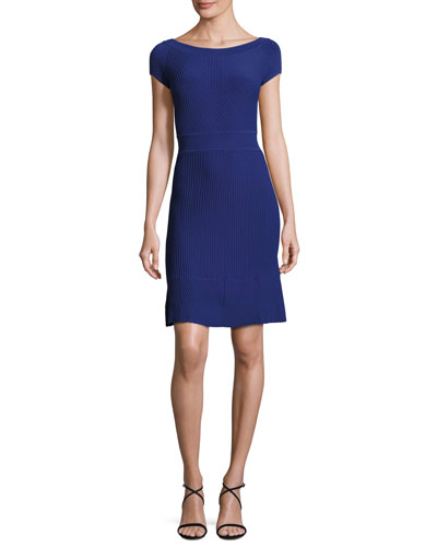 Cross-Piping Knit Flounce Dress, Blue Violet