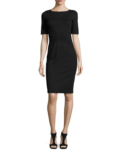 Milano Jersey Pintucked Short-Sleeve Dress, Black