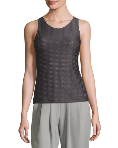 Interlock Jersey Crewneck Tank, Dark Gray