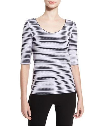 Striped Half-Sleeve Tee, Lilac/Black