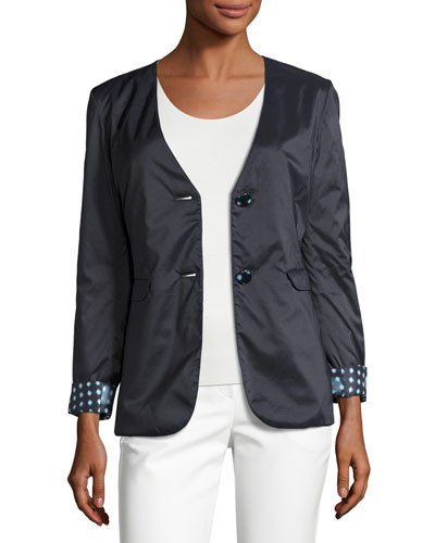 Reversible Dot-Print Two-Button Jacket, Navy/Multi