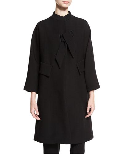 Double-Cloth Bracelet-Sleeve Coat, Black