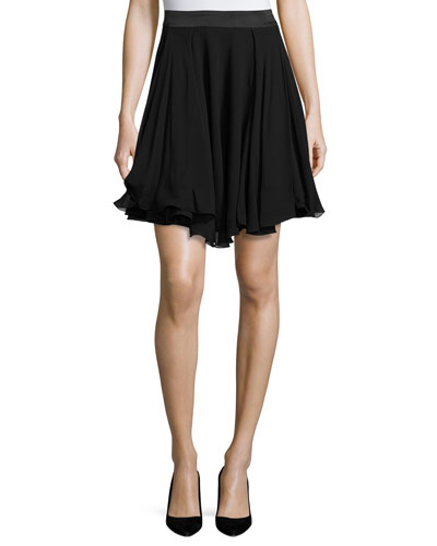 A-Line Georgette Skirt, Black