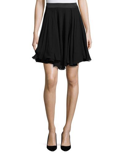 A-Line Georgette Skirt, Black