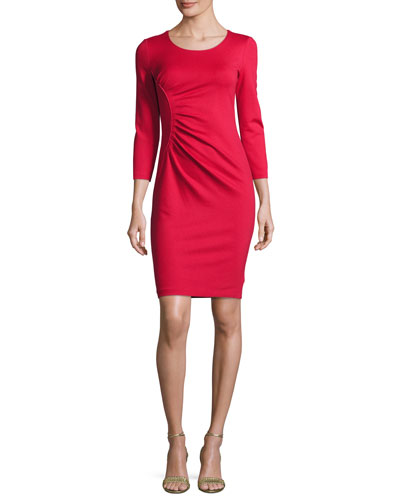 Ruched 3/4-Sleeve Sheath Dress, Red