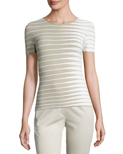 Alternating-Stripe Short-Sleeve Sweater, Beige/Multi