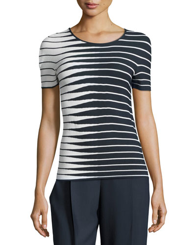 Alternating-Stripe Short-Sleeve Sweater, Navy/Multi
