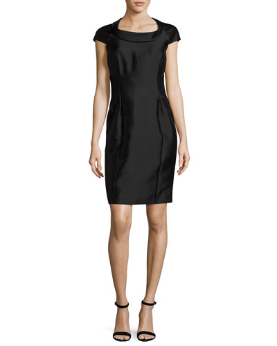 Radzimir Cap-Sleeve Sheath Dress, Black