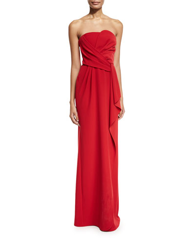 Strapless Tech Cady Gown, Red