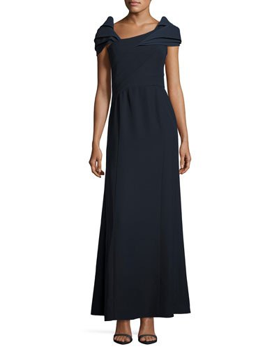 Asymmetric Cap-Sleeve A-Line Gown, Midnight