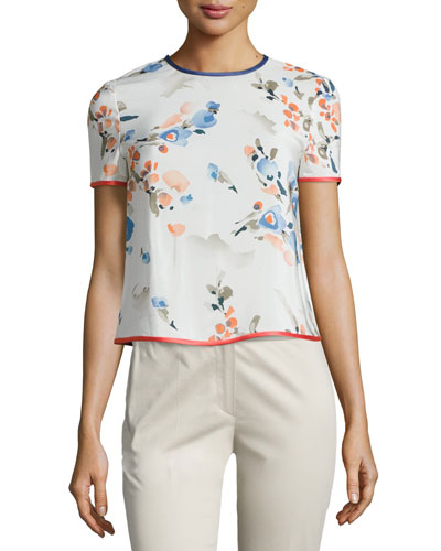Floral-Print Silk Short-Sleeve Blouse, Multi
