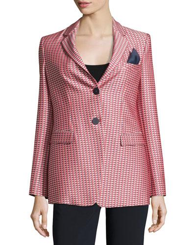 Geometric-Jacquard One-Button Jacket, Red/Multi