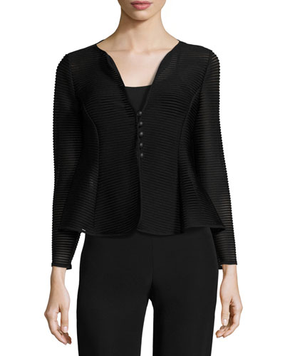 Ottoman Jersey Button Jacket, Black