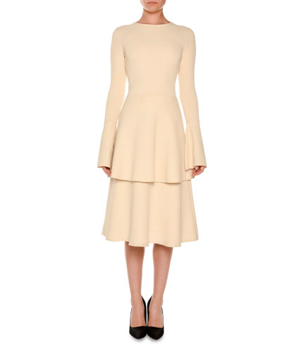 Long-Sleeve Tiered Tulip-Hem Dress, Linen