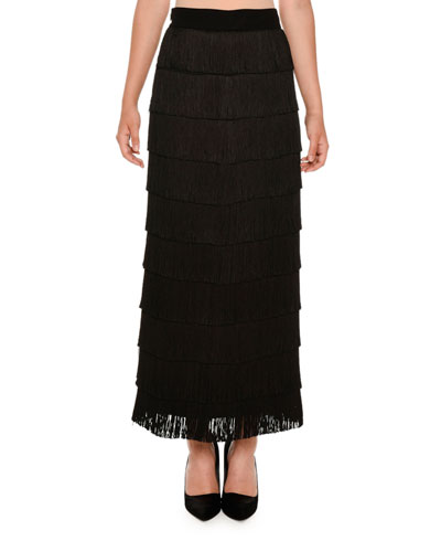 Tiered Fringe Maxi Skirt, Black