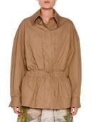 Snap-Front Anorak Jacket, Khaki