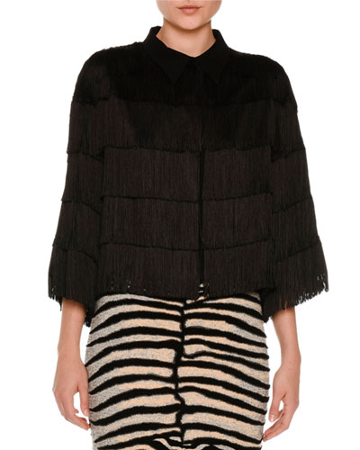 Tiered Fringe 3/4-Sleeve Blouse, Black