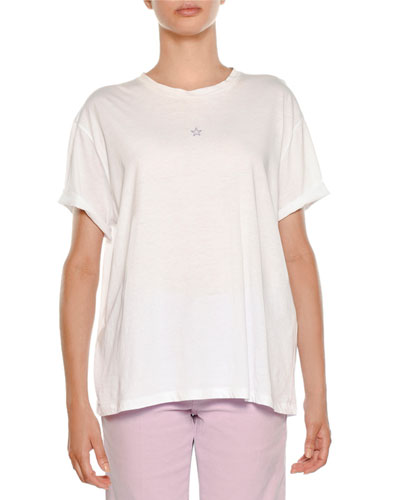 Star-Embroidered Crewneck Tee, Pure White