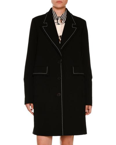 Topstitched Caban Coat, Black