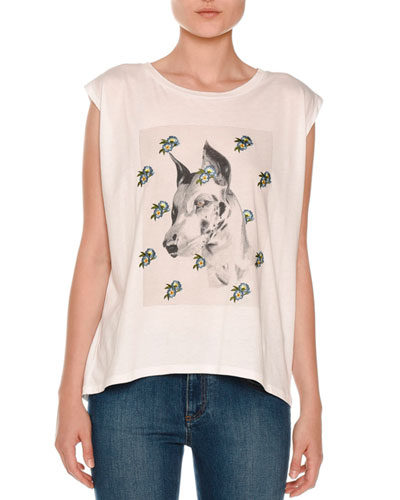 Dog Face & Floral Crewneck Tee, Pure White