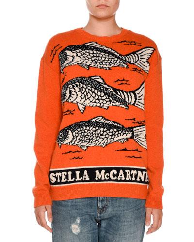 Fish Logo Intarsia Sweater, Orange