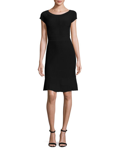 Cross-Piping Knit Cap-Sleeve Dress, Black