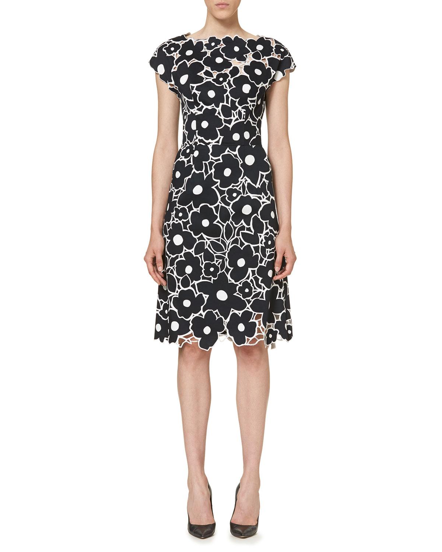 Floral Cutout Cap-Sleeve Cocktail Dress, Black/White