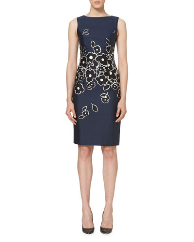 Floral Sleeveless Bateau-Neck Sheath Dress, Navy/Black/White