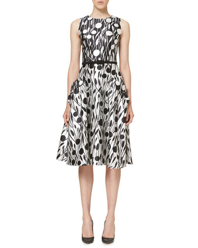 Printed Sleeveless Belted A-Line Dress, Black/White