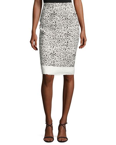 Splatter-Print Pencil Skirt, White/Black