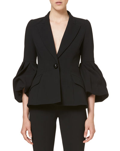 One-Button Bell-Sleeve Jacket, Black
