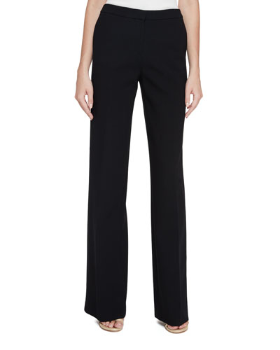 Wide-Leg Fly-Front Pants, Black