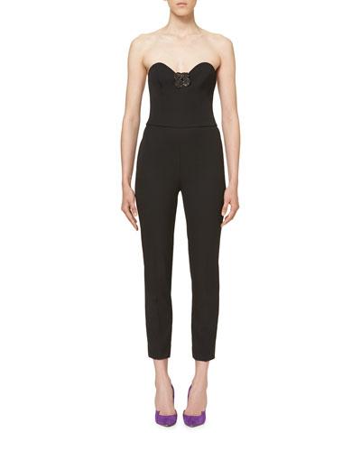 Floral-Appliqué Strapless Jumpsuit, Black