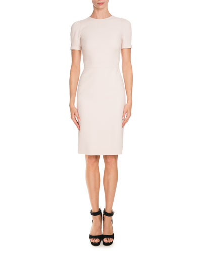 Short-Sleeve Fitted Pencil Dress, Skin